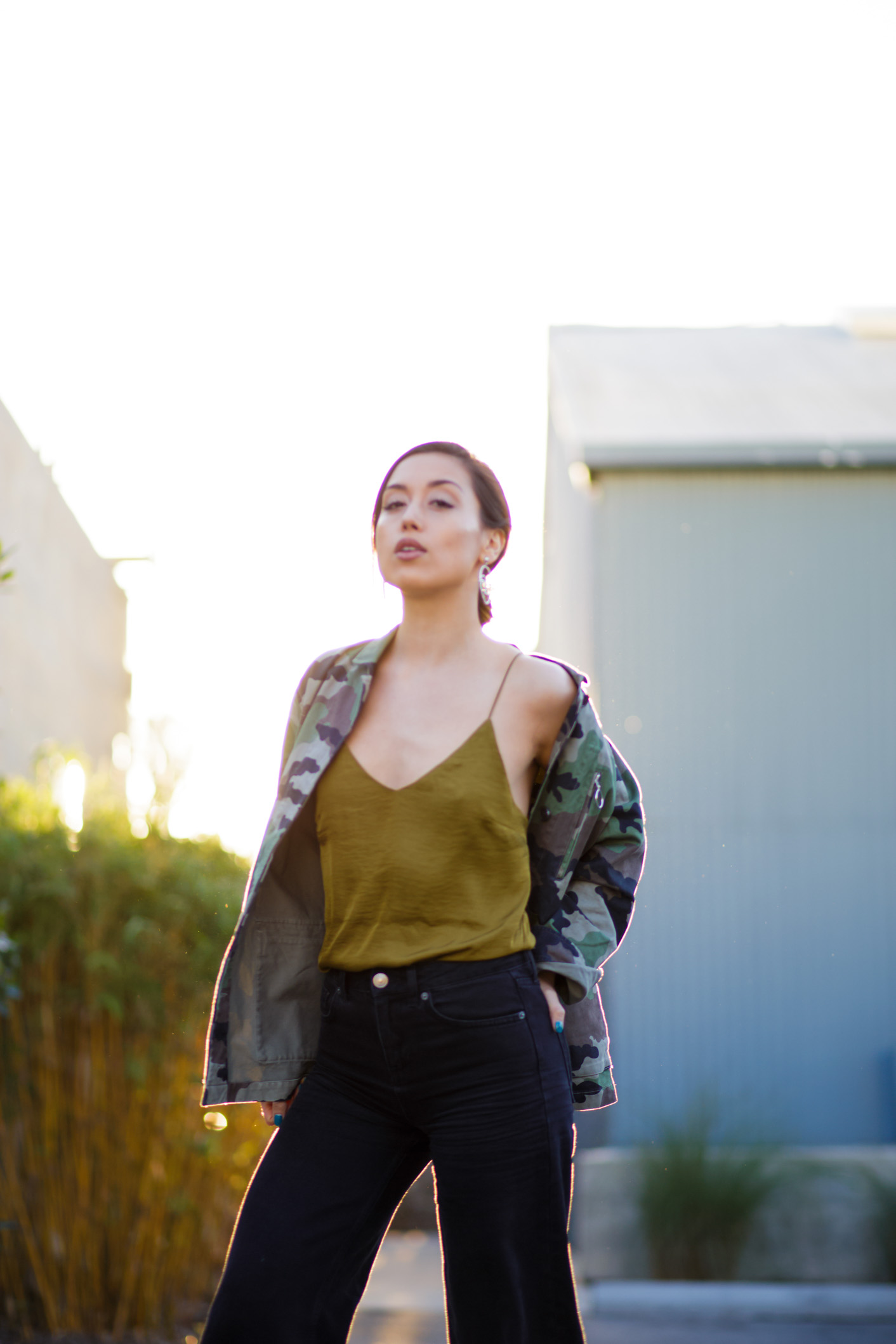 Camo jacket and crop flare jeans