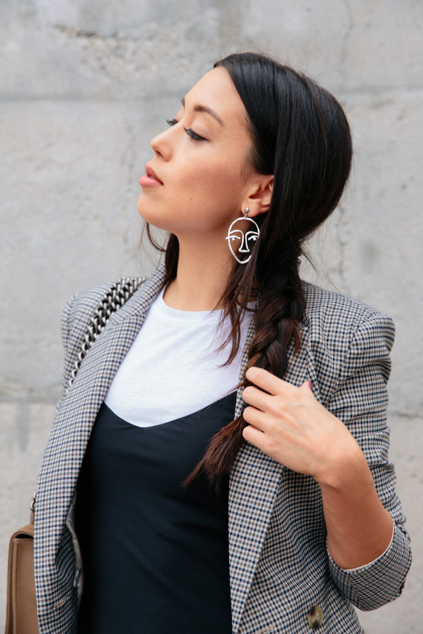 LOVE OR MONEY by Emily Tong wearing H&M Blazer &Other Stories Slip Dress Public Desire Booties and Naked Vice Purse