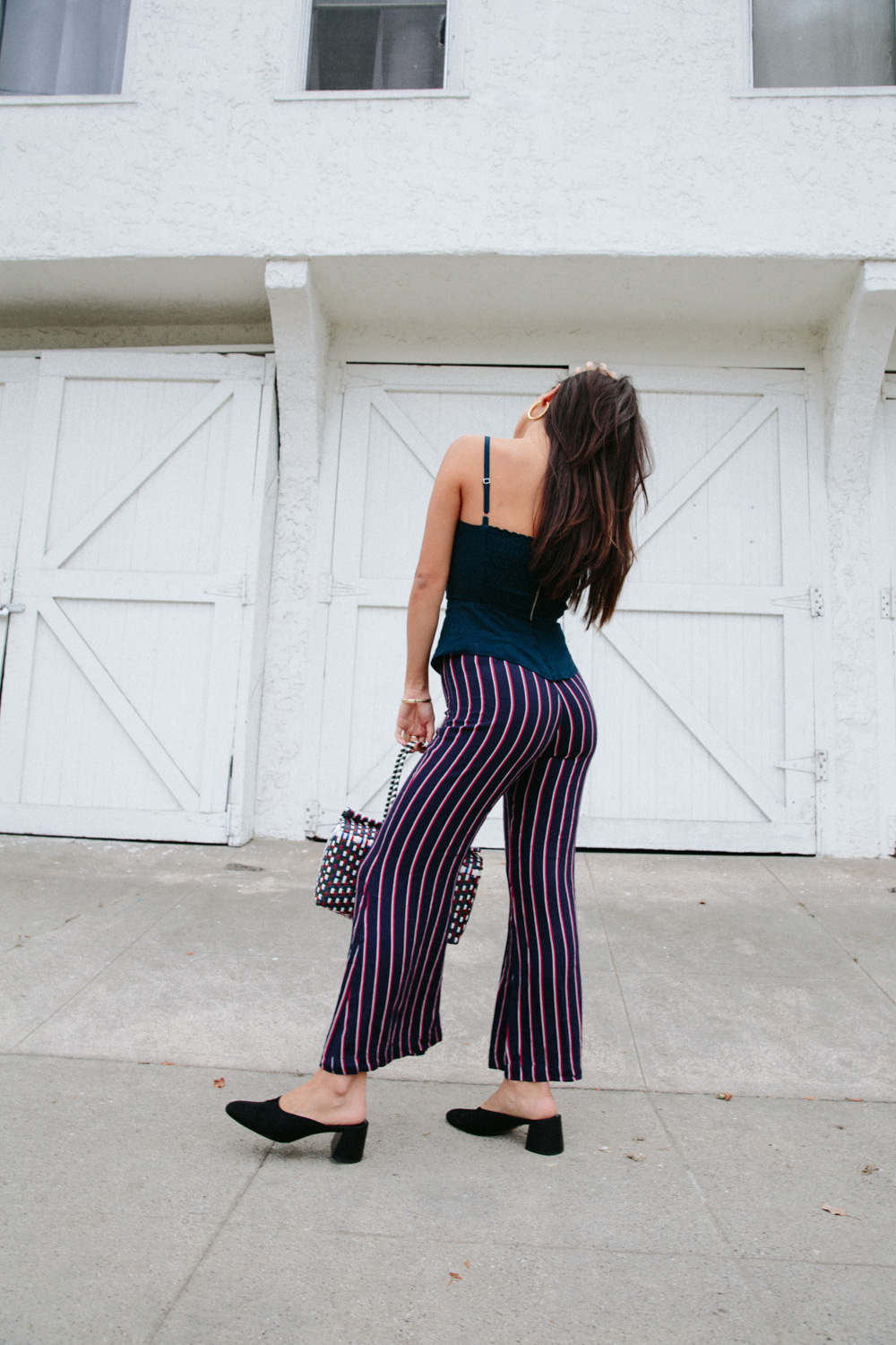 LOVE OR MONEY by Emily Tong wearing striped wide leg pants reformation top mango mules and zara leather jacket