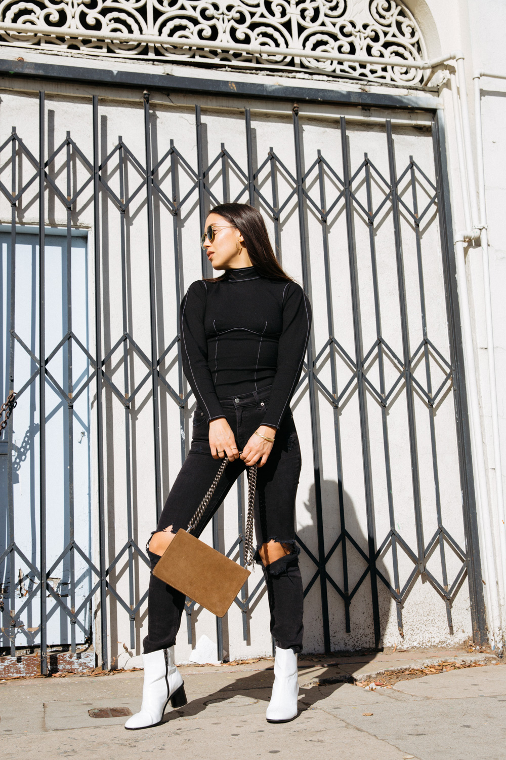 LOVE OR MONEY by Emily Tong wearing topstitch trend top reformation jeans white boots naked vice chain bag