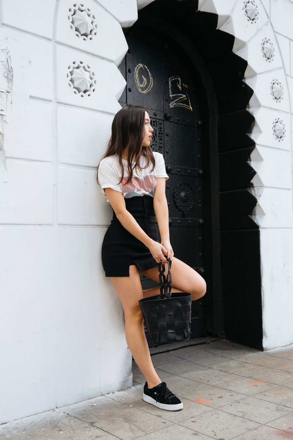 LOVE OR MONEY by Emily Tong wearing Anine Bing vintage shirt high waisted skirt and sneakers