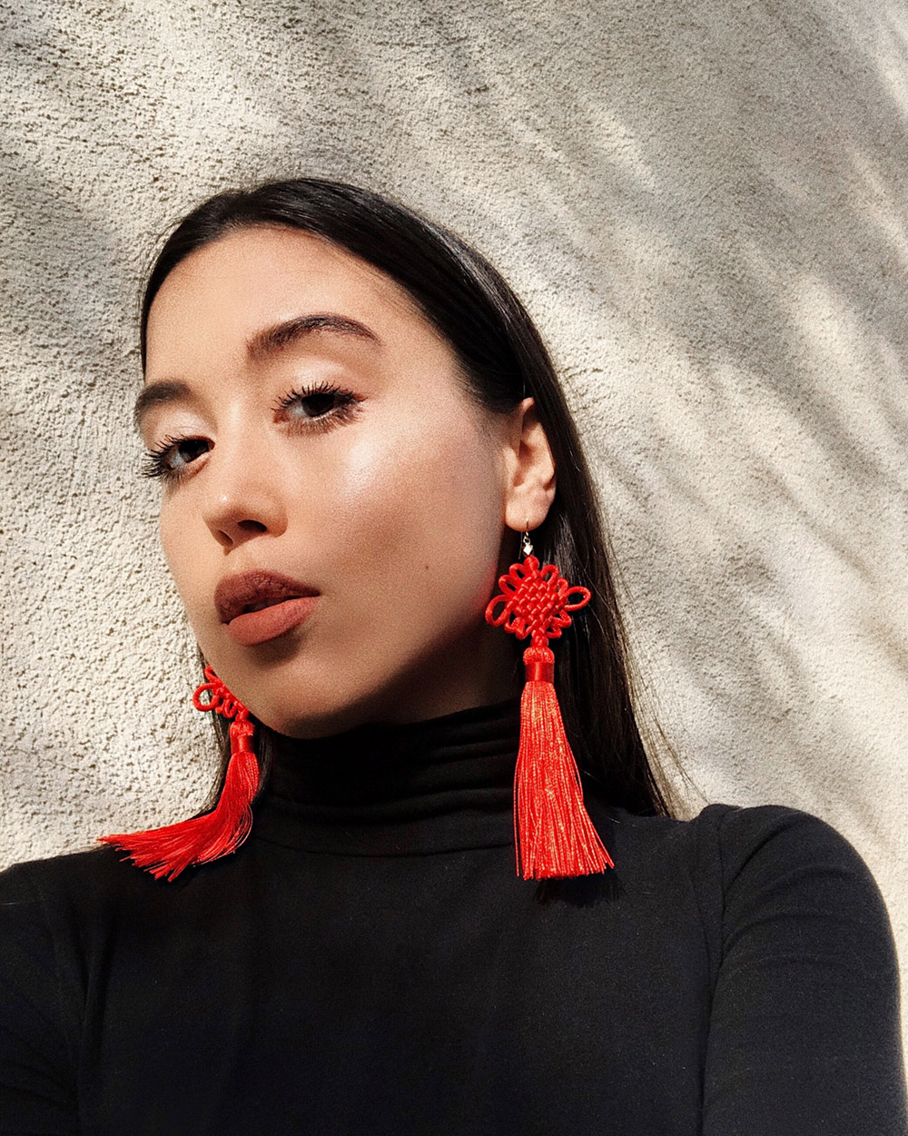 LOVE OR MONEY by Emily Tong wearing Vanessa Mooney Chinese Earrings