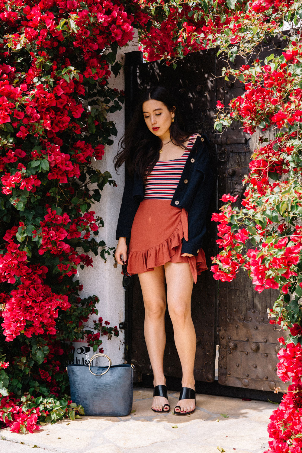 LOVE OR MONEY by Emily Tong wearing ruffle wrap skirt reformation tank top and anthropologie bag