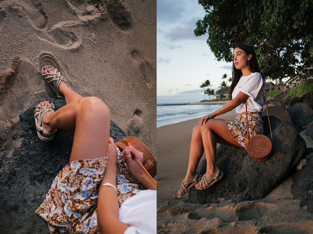 LOVE OR MONEY by Emily Tong wearing Hawaii vacation looks and free people skirt