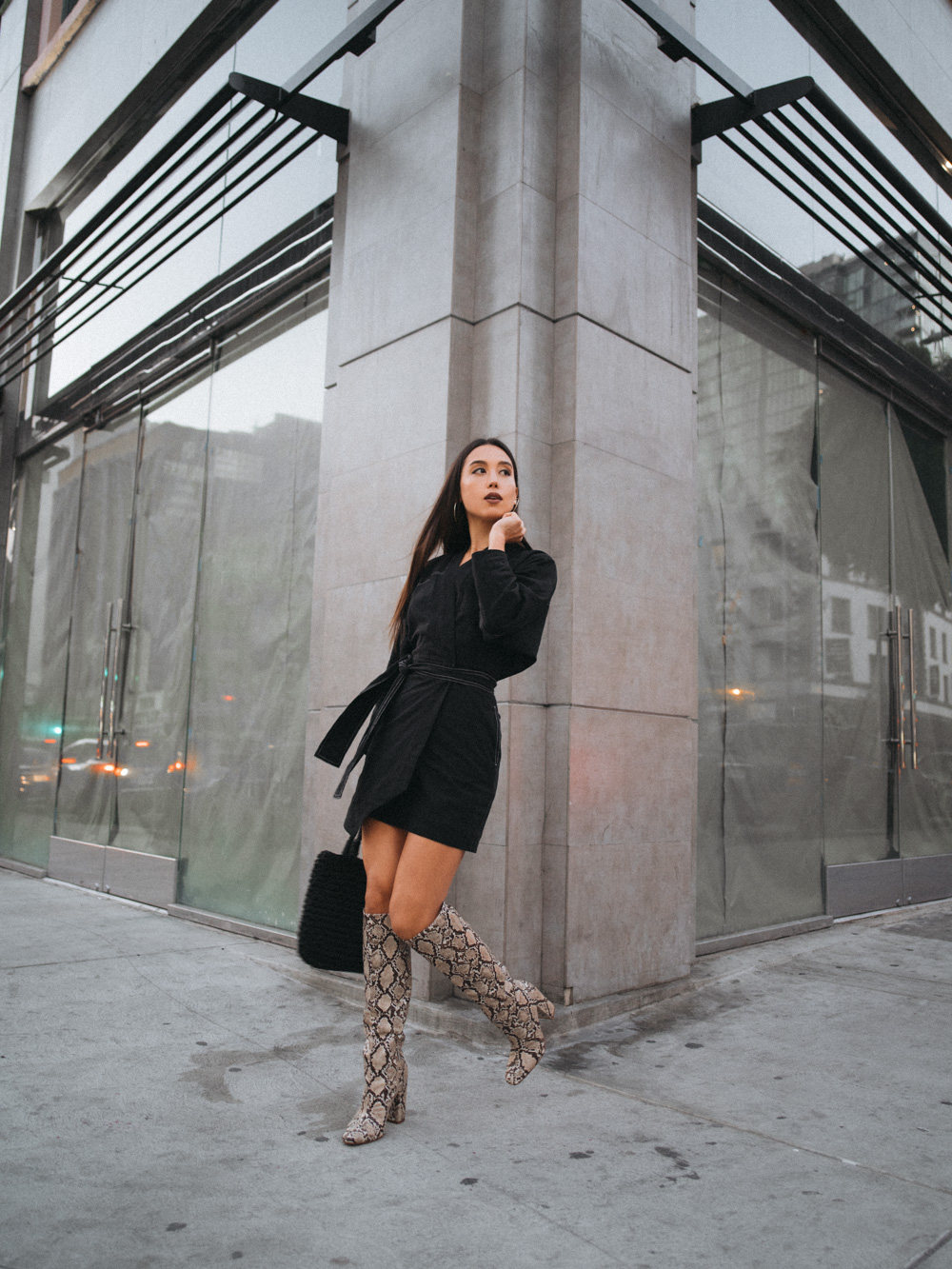LOVE OR MONEY by Emily Tong wearing Stories Kimono Dress and Zara Snake Boots