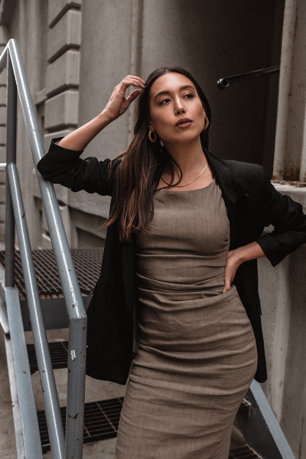 LOVE OR MONEY wearing minimal blazer by Closed and Zara dress in Brooklyn