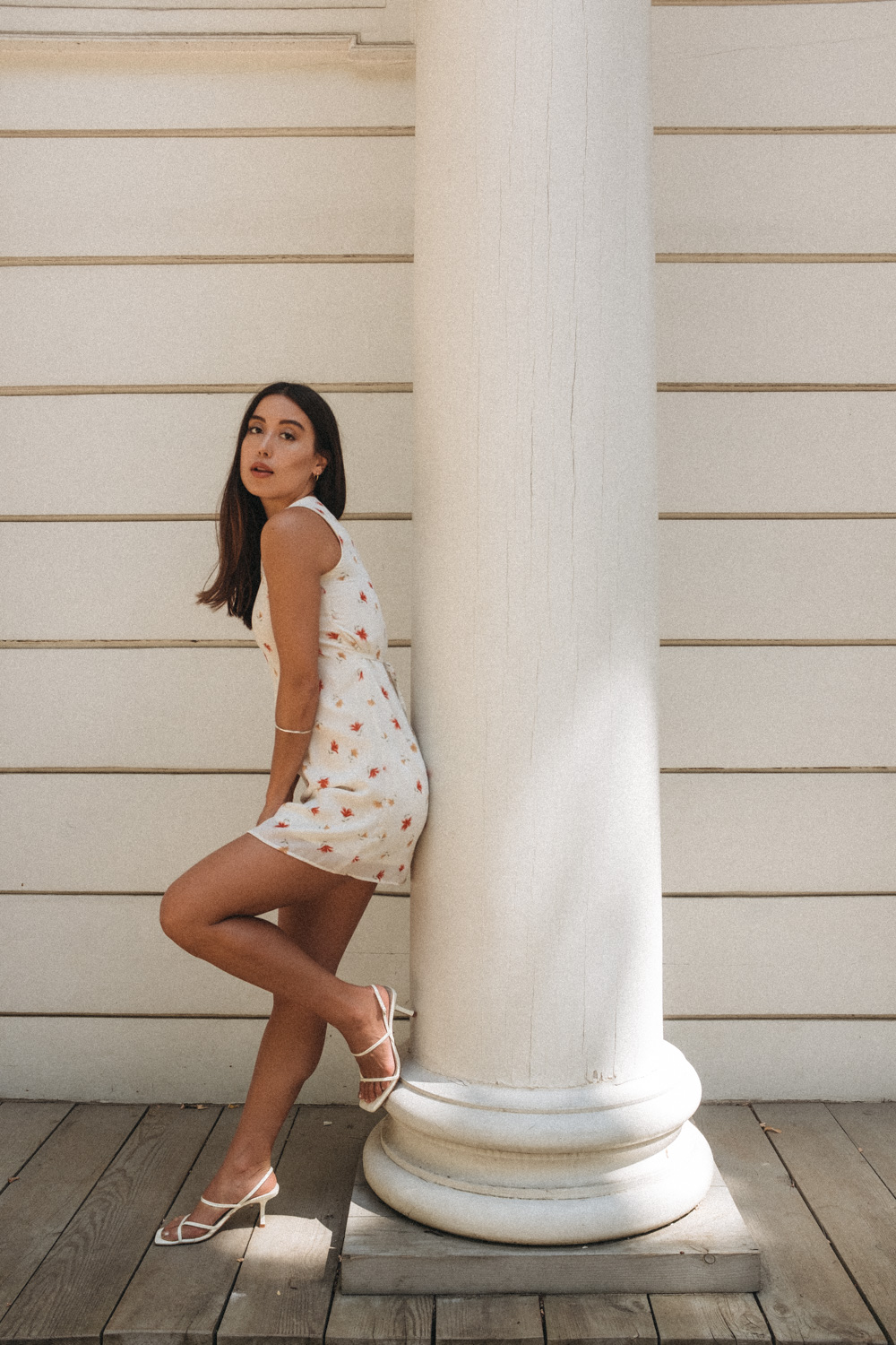 LOVE OR MONEY by Emily Tong wearing vintage floral mini dress and Zara heels