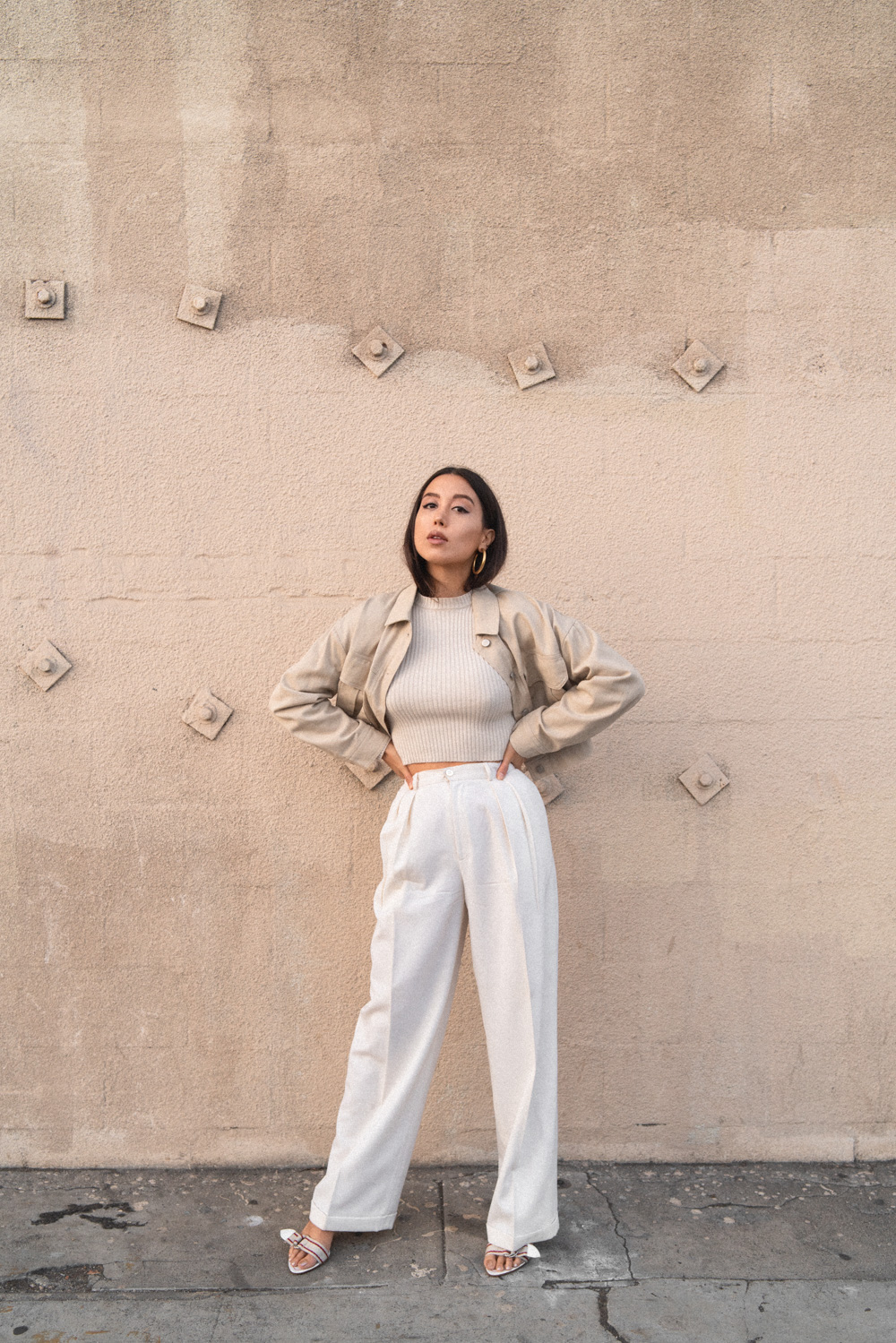 Emily Tong of Love Or Money Blog Wearing Vintage Wide Leg Trousers And Miu Miu Sandals