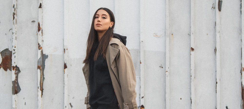 LOVE OR MONEY Blog by Emily Tong wearing biker shorts Closed trench coat and other stories sweatshirt and veja sneakers