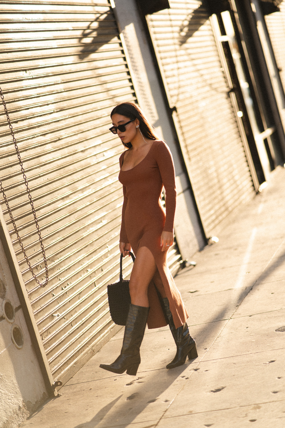 LOVE OR MONEY blog by Emily Tong wearing Aritzia Wilfred Maeve Dress and Mango Knee high boots