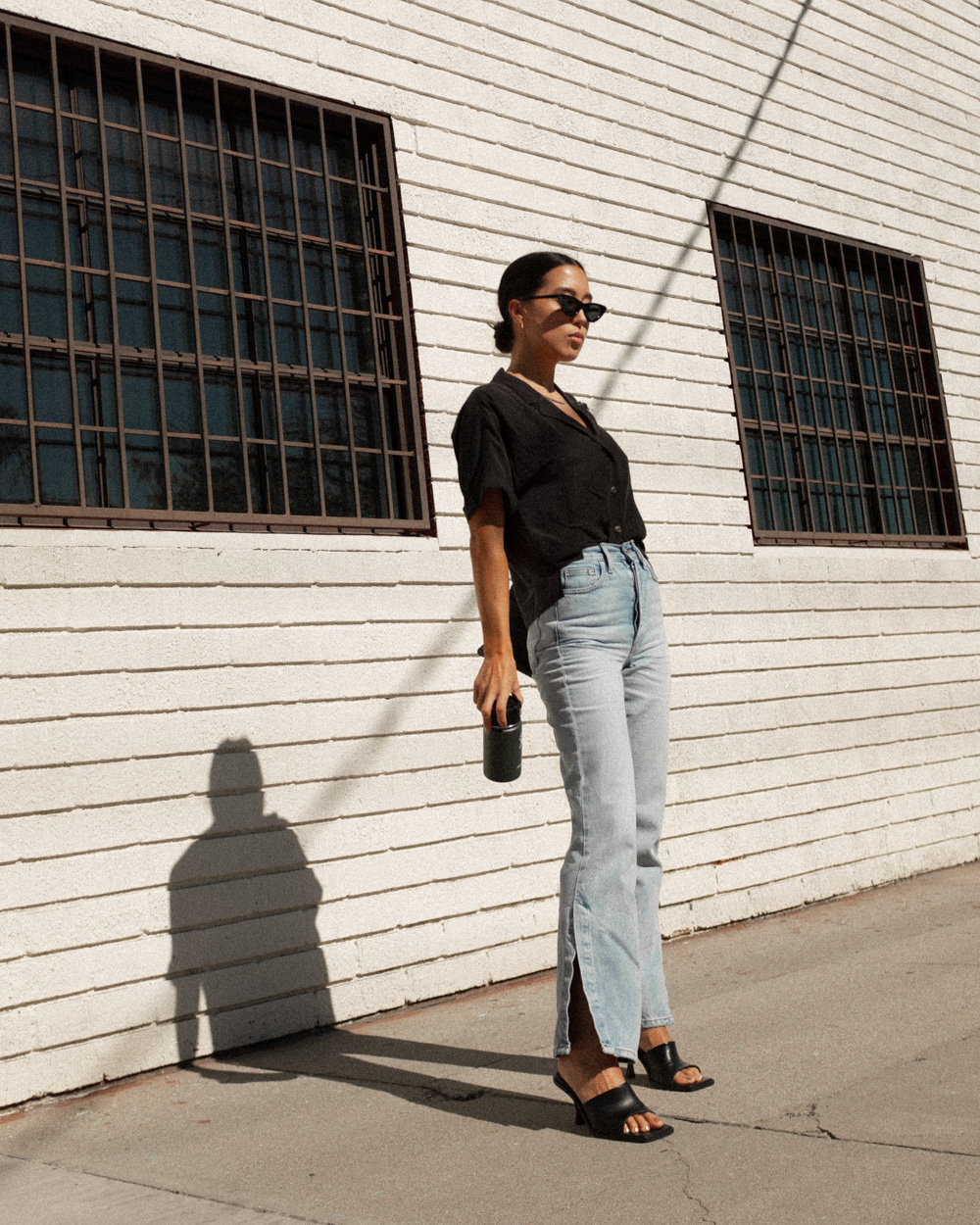 Emily Tong wearing Topshop split hem jeans and Stories shirt